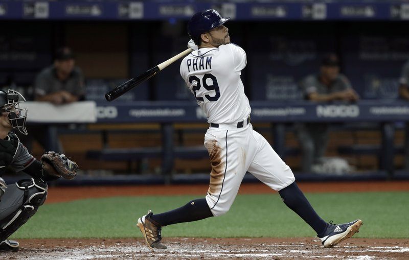Tampa Bay Rays' Tommy Pham (29) watches his grand slam off Arizona Diamondbacks starting pitcher Merrill Kelly during the second inning of a baseball game Monday, May 6, 2019, in St. (AP Photo/Chris O'Meara)