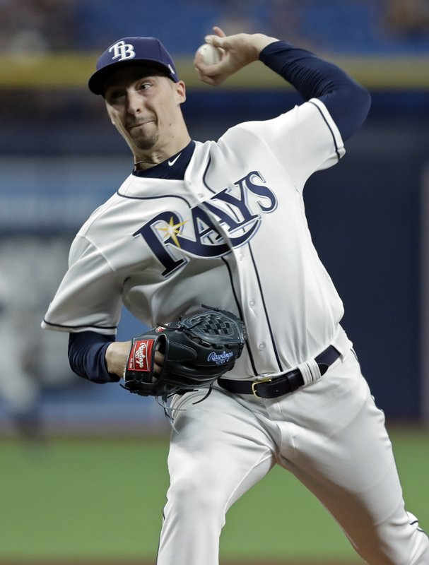 Tampa Bay Rays' Blake Snell pitches to the Arizona Diamondbacks during the first inning of a baseball game Monday, May 6, 2019, in St. (AP Photo/Chris O'Meara)