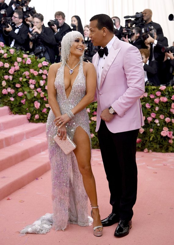 Jennifer Lopez, left, and Alex Rodriguez attend The Metropolitan Museum of Art's Costume Institute benefit gala celebrating the opening of the