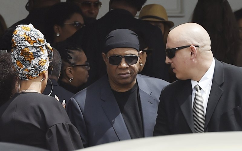 Singer Stevie Wonder leaves a memorial service for film director John Singleton at Angelus Funeral Home, Monday, May 6, 2019, in Los Angeles. (AP Photo/Chris Pizzello)