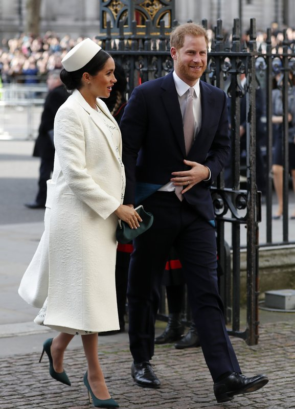 FILE - In this file photo dated Monday, March 11, 2019, Britain's Prince Harry and Meghan Markle, the Duchess of Sussex arrive to attend the Commonwealth Service at Westminster Abbey on Commonwealth Day in London. (AP Photo/Frank Augstein, FILE)