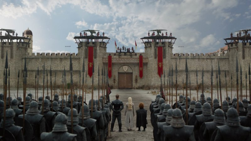 This image released by HBO shows from center left, Jacob Anderson, Emilia Clarke and Peter Dinklage in a scene from