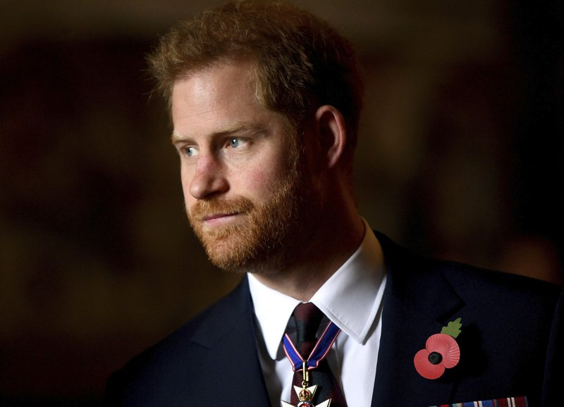 FILE - In this Thursday, April 25, 2019 file photo, Britain's Prince Harry, the Duke of Sussex leaves the Anzac Day Service of Commemoration and Thanksgiving at Westminster Abbey, in London. (Victoria Jones/Pool Photo via AP, file)