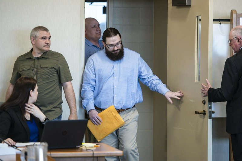 Steven Bourgoin arrives for his trial in Vermont Superior Court in Burlington on Monday, May 6, 2019. (Glenn Russell/The Burlington Free Press via AP, Pool)