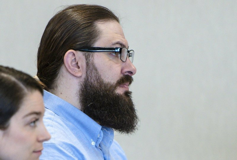 Steven Bourgoin appears for the first day of his trial in Vermont Superior Court in Burlington on Monday, May 6, 2019. (Glenn Russell/The Burlington Free Press via AP, Pool)