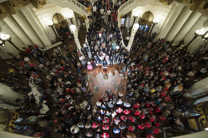 Gun rights advocates gather for an annual rally at the state Capitol in Harrisburg, Pa. (AP Photo/Matt Rourke)