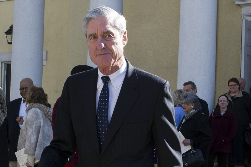 FILE - In this March 24, 2019, file photo, special counsel Robert Mueller departs St. (AP Photo/Cliff Owen)