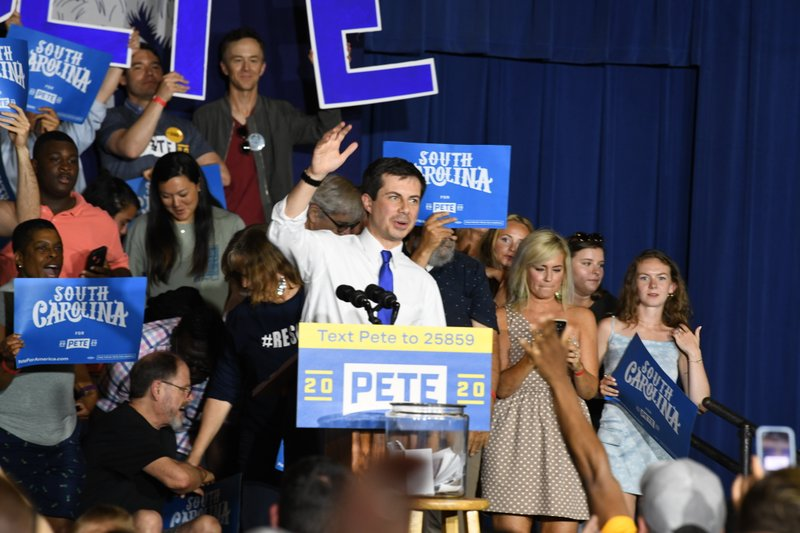 Democratic presidential contender Pete Buttigieg holds a town hall in North Charleston, South Carolina, on Sunday, May 5, 2019. (AP Photo/Meg Kinnard)
