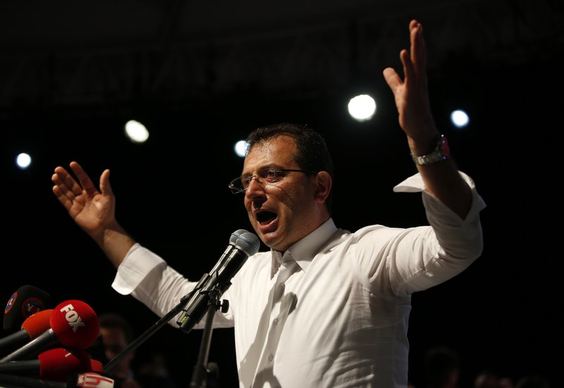 Ekrem Imamoglu, the opposition, Republican People's Party's (CHP) mayoral candidate in Istanbul, gestures during a rally in Istanbul, late Monday, May 6, 2019. (AP Photo/Lefteris Pitarakis)