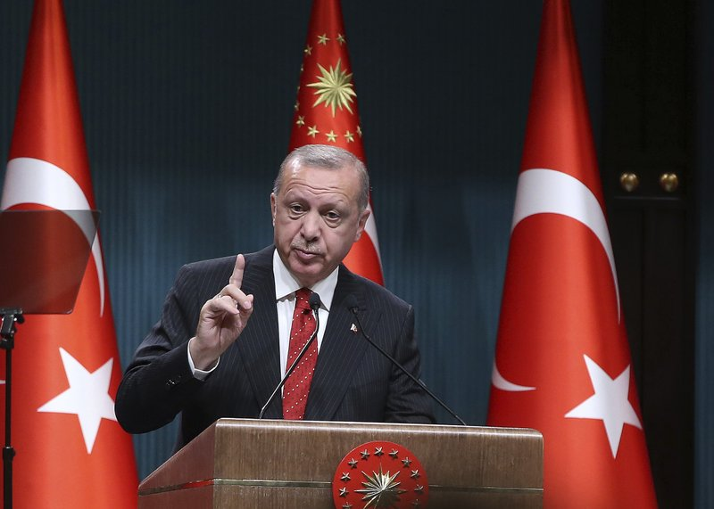 Turkey's President Recep Tayyip Erdogan speaks during a ceremony at presidential palace, in Ankara, Turkey, Monday, May 6, 2019. (Presidential Press Service via AP, Pool)