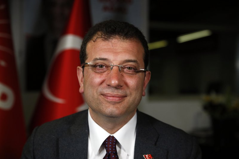 FILE - In this Thursday April 4, 2019 file photo, Ekrem Imamoglu of the opposition Republican People's Party's (CHP) mayoral candidate in Istanbul, poses for The Associated Press prior to an interview in Istanbul. (AP Photo/Lefteris Pitarakis, File)