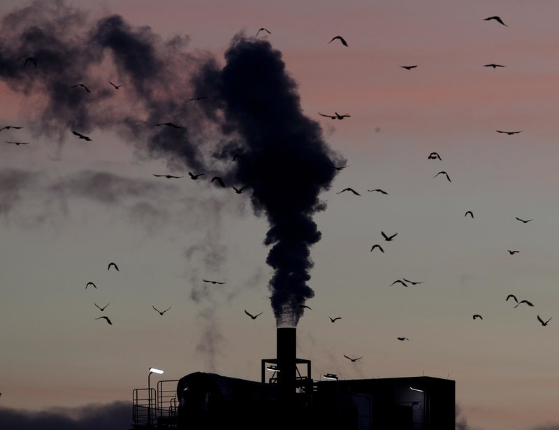 FILE - In this Dec. 4, 2018, file photo, birds fly past a smoking chimney in Ludwigshafen, Germany. (AP Photo/Michael Probst, File)