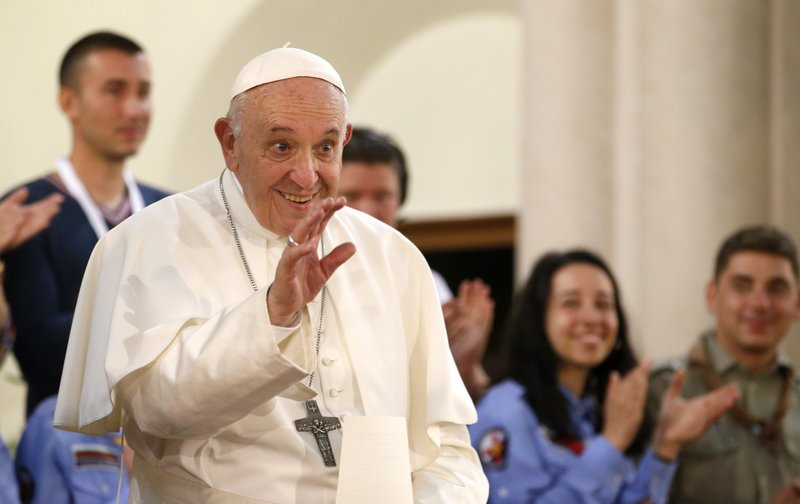 Pope Francis arrives for a meeting with the Catholic community in the Church of St. (AP Photo/Darko Vojinovic)