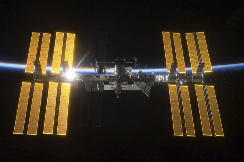 This March 25, 2009 photo provided by NASA shows the International Space Station seen from the Space Shuttle Discovery during separation. (NASA via AP)