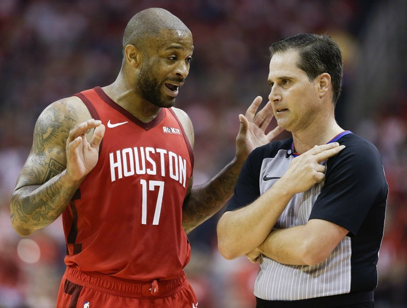 Houston Rockets forward PJ Tucker (17) argues a call with referee David Guthrie during the first half of Game 4 of a second-round NBA basketball playoff series against the Golden State Warriors, Monday, May 6, 2019, in Houston. (AP Photo/Eric Christian Smith)