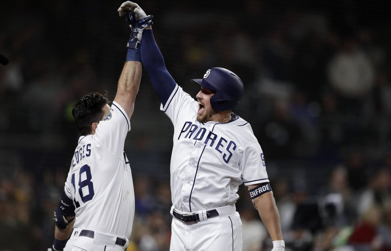 The San Diego Padres' Hunter Renfroe, right, celebrates with teammate Austin Hedges, left, after hitting a home run during the fifth inning of a baseball game against the New York Mets, Monday, May 6, 2019, in San Diego. (AP Photo/Gregory Bull)