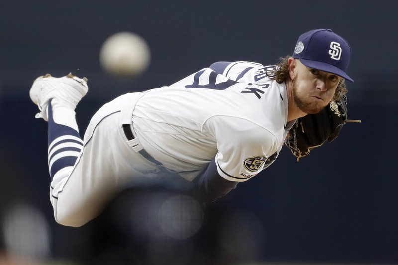 San Diego Padres starting pitcher Chris Paddack works against a New York Mets batter during the first inning of a baseball game Monday, May 6, 2019, in San Diego. (AP Photo/Gregory Bull)