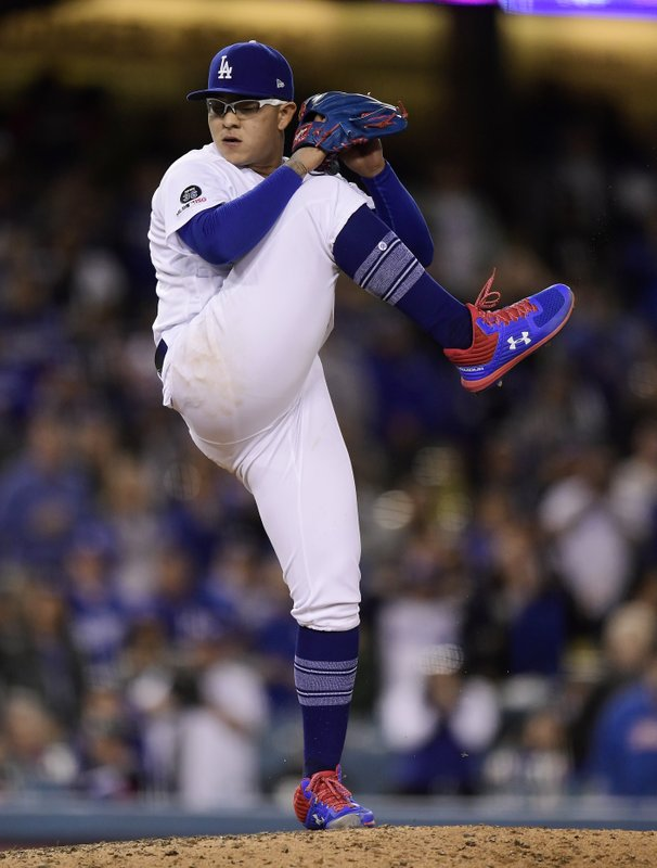 Los Angeles Dodgers relief pitcher Julio Urias throws during the ninth inning of a baseball game against the Atlanta Braves, Monday, May 6, 2019, in Los Angeles. (AP Photo/Mark J. Terrill)