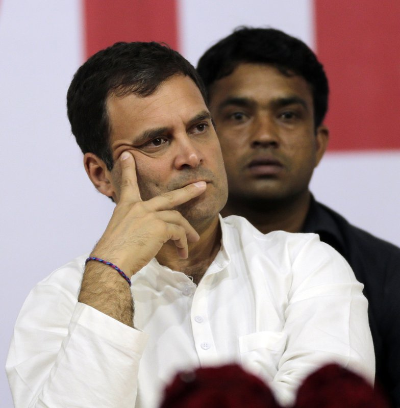 FILE - In this March 1, 2019 file photo, India's Congress party President Rahul Gandhi attends a public rally in Mumbai, India. (AP Photo/Rajanish Kakade)
