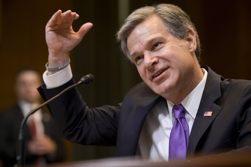 FBI Director Christopher Wray testifies during a hearing of the Appropriations Subcommittee for Commerce, Justice, Science, and Related Agencies, on Capitol Hill, Tuesday, May 7, 2019 in Washington. (AP Photo/Alex Brandon)