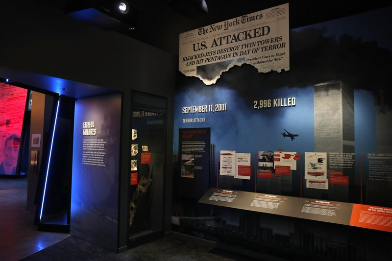 Items from 9/11, including the flight manuals and one boarding pass used by the hijackers of the planes that went into the World Trade Center on 9/11, are among the items on exhibition at the new International Spy Museum, Tuesday April 30, 2019, in Washington. (AP Photo/Jacquelyn Martin)