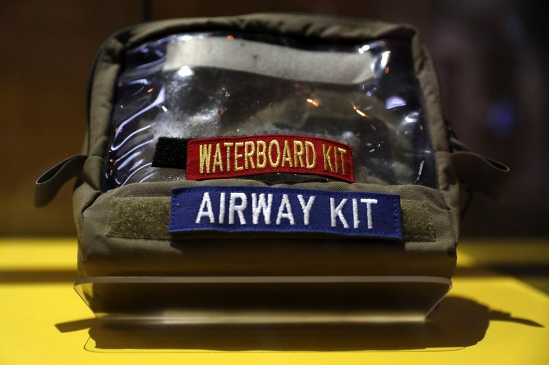 A waterboard kit is part of an exhibit on torture in the new International Spy Museum, Tuesday April 30, 2019, in Washington. (AP Photo/Jacquelyn Martin)