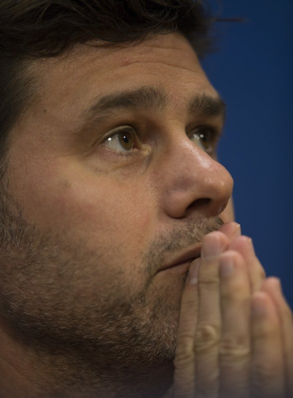 Tottenham coach Mauricio Pochettino reacts during a press conference at the Johan Cruyff Arena in Amsterdam, Netherlands, Tuesday, May 7, 2019. (AP Photo/)