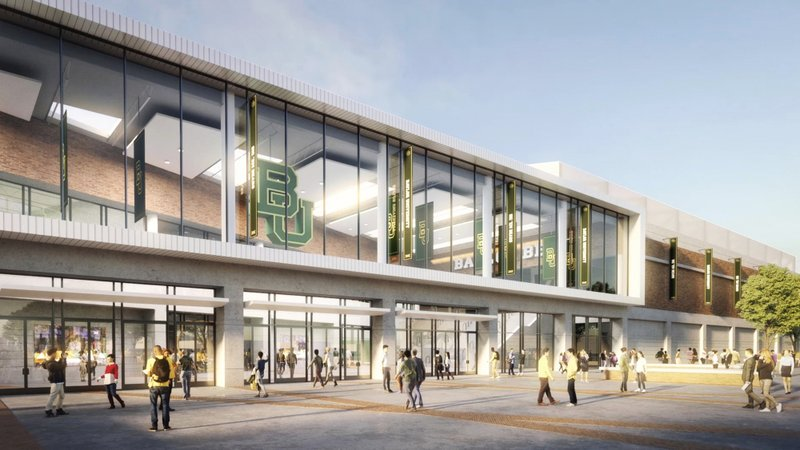 This image provided by Baylor University shows a rendering of the new Baylor basketball facility. (AECOM/Courtesy of Baylor University via AP)