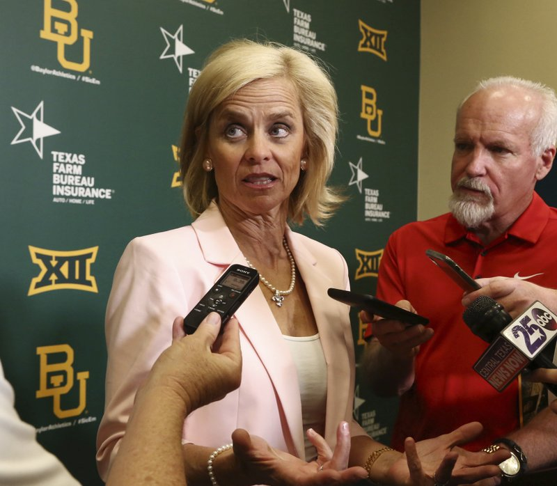 Baylor women's basketball coach Kim Mulkey speaks to the media during an NCAA college basketball news conference about the new Baylor Basketball Pavilion that will be located next to the current Ferrell Center, Tuesday, May 7, 2019, in Waco, Texas. (Rod Aydelotte/Waco Tribune-Herald via AP)