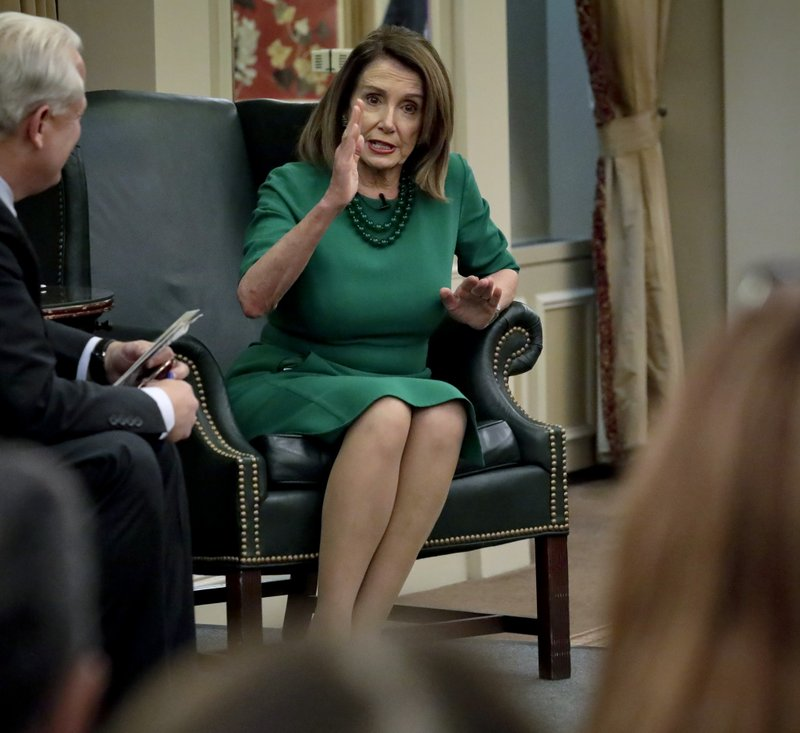 Speaker of the House Nancy Pelosi, D-Calif., addresses questions from a bi-partisan group, during her visit to the Institute of Politics and Global Affairs at Cornell University, Tuesday May 7, 2019, in New York. (AP Photo/Bebeto Matthews)