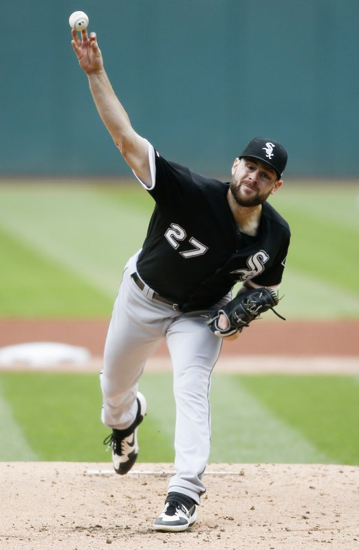 Chicago White Sox starting pitcher Lucas Giolito delivers against the Cleveland Indians during the first inning of a baseball game, Tuesday, May 7, 2019, in Cleveland. (AP Photo/Ron Schwane)