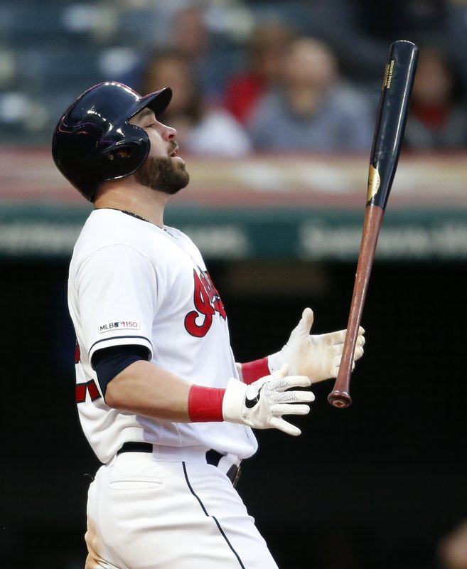 Cleveland Indians' Jason Kipnis reacts after being struck out by Chicago White Sox starting pitcher Lucas Giolito during the sixth inning of a baseball game Tuesday, May 7, 2019, in Cleveland. (AP Photo/Ron Schwane)