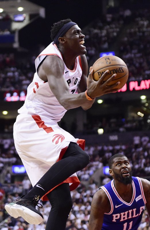 Toronto Raptors forward Pascal Siakam (43) jumps for the basket to score against the Philadelphia 76ers during the second half of Game 5 of an NBA basketball second-round playoff series, Tuesday, May 7, 2019, in Toronto. (Frank Gunn/The Canadian Press via AP)