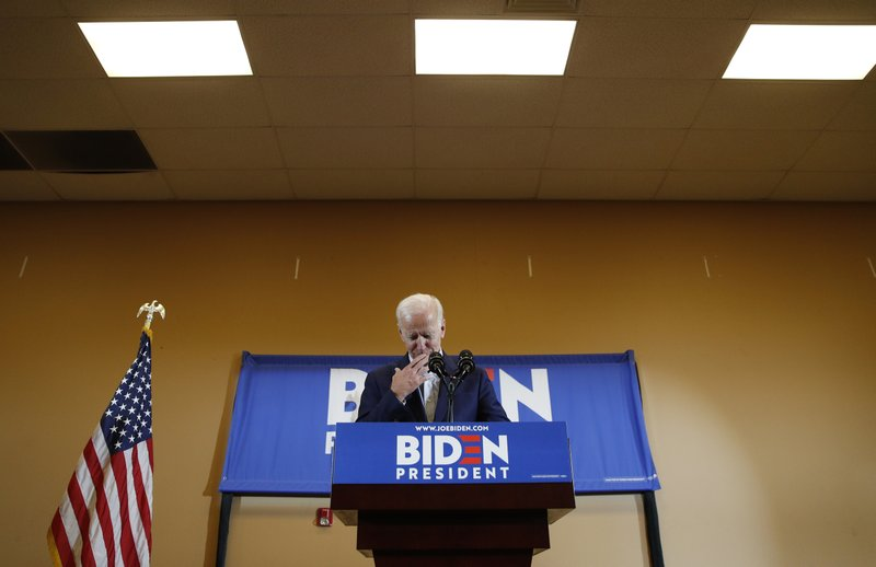Former Vice President and Democratic presidential candidate Joe Biden reacts as he speaks at a rally with members of a painters and construction union, Tuesday, May 7, 2019, in Henderson, Nev. (AP Photo/John Locher)