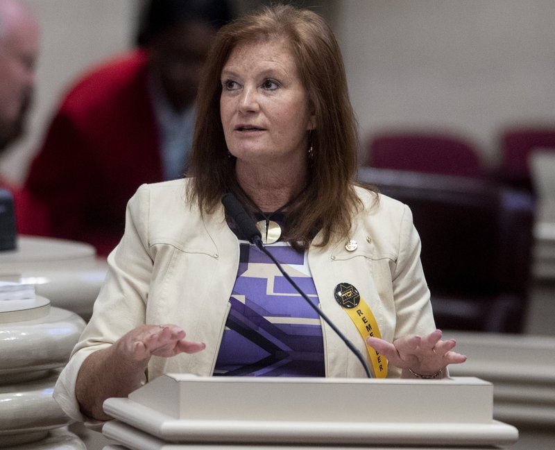 FILE - In this Tuesday, April 30, 2019 file photo, Rep. Terri Collins answers questions during debate on the abortion ban bill at the Alabama Statehouse in Montgomery, Ala. (Mickey Welsh/The Montgomery Advertiser via AP, File)