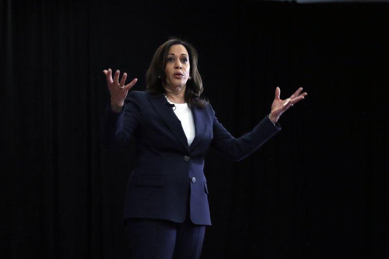 Democratic presidential candidate Sen. Kamala Harris, D-Calif., speaks during a town hall for the American Federation of Teachers in Detroit, Monday, May 6, 2019. (AP Photo/Paul Sancya)