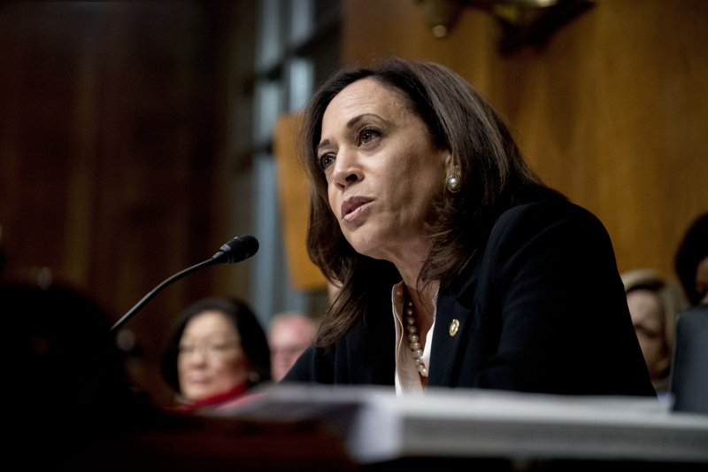 FILE - In this Wednesday, May 1, 2019, file photo, Sen. Kamala Harris, D-Calif., speaks as Attorney General William Barr testifies during a Senate Judiciary Committee hearing  on the Mueller Report on Capitol Hill in Washington. (AP Photo/Andrew Harnik, File)