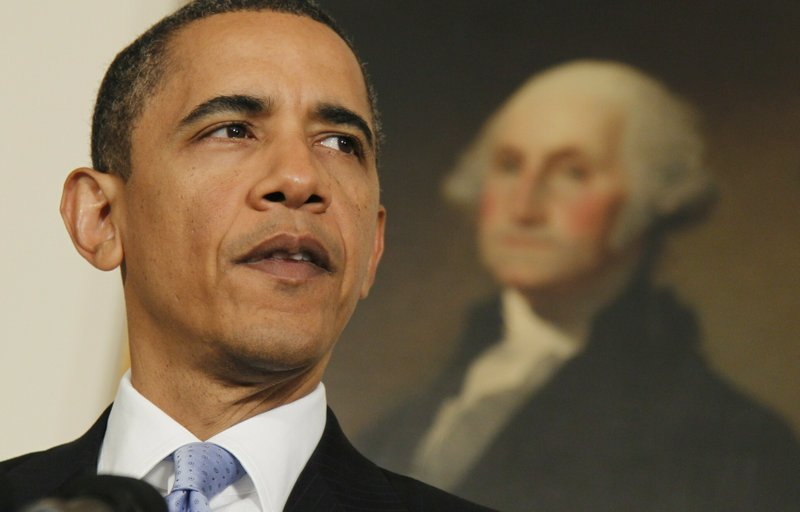 FILE - In this June 9, 2010 file photo, U.S. President Barack Obama makes a statement about Iran in the Diplomatic Reception Room of the White House in Washington. (AP Photo/Charles Dharapak, File)