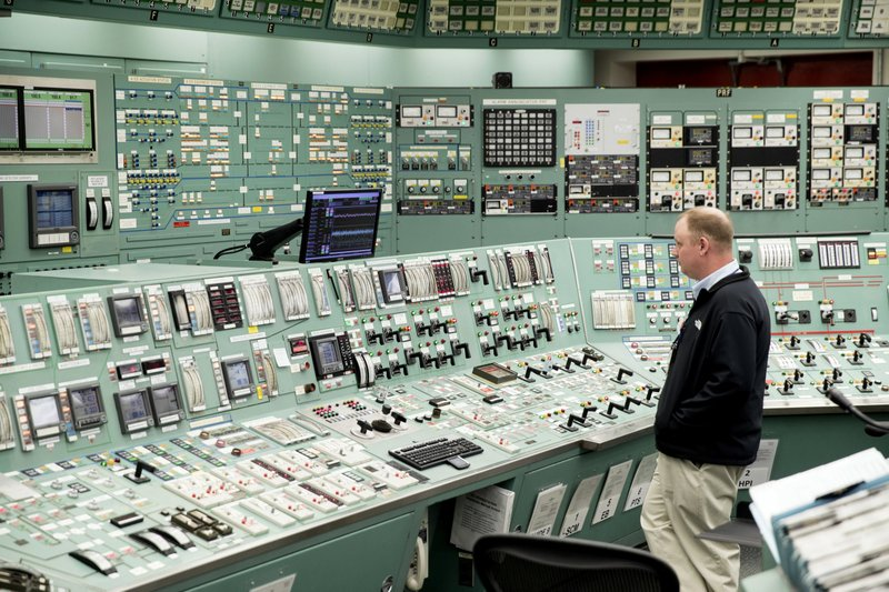 FILE - This May 22, 2017, file photo, shows the control room at the Three Mile Island nuclear power plant in Middletown, Pa. (AP Photo/Matt Rourke, File)