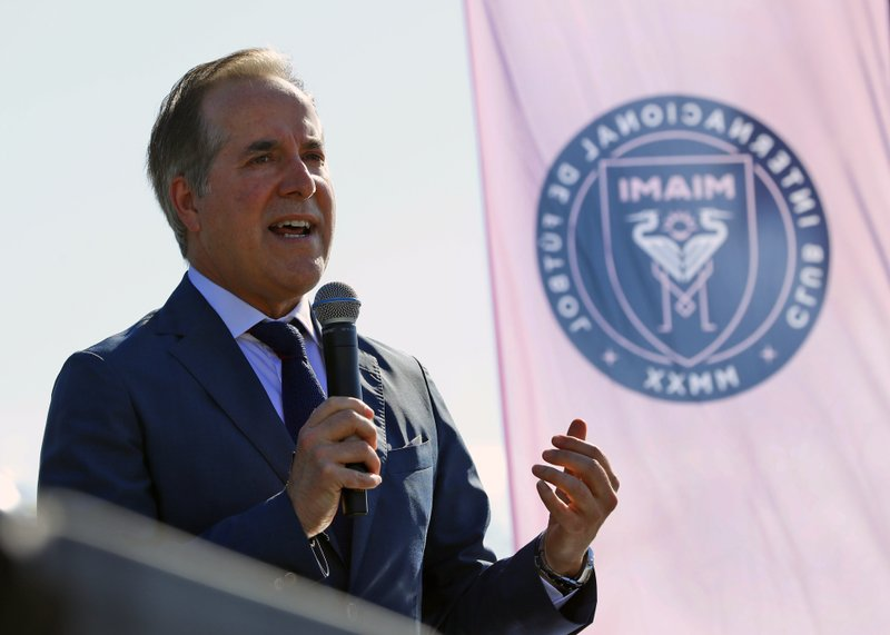 Inter Miami CF soccer team majority owner Jorge Mas speaks during a demolition ceremony at the old Lockhart Stadium, Wednesday, May 8, 2019, in Fort Lauderdale, Fla. (AP Photo/Wilfredo Lee)