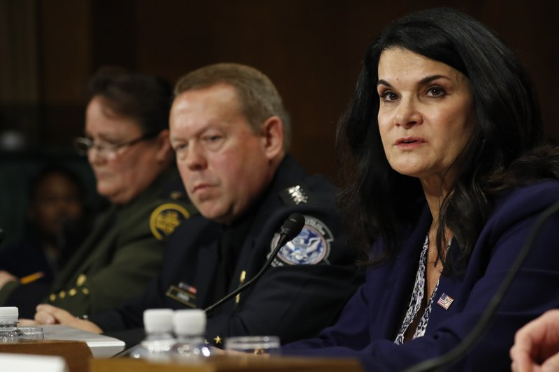 Department of Homeland Security Acting Executive Associate Director of Enforcement and Removal Operations Nathalie Asher, right, testifies during a Senate Judiciary Border Security and Immigration Subcommittee hearing about the border, Wednesday May 8, 2019, on Capitol Hill in Washington. (AP Photo/Jacquelyn Martin)