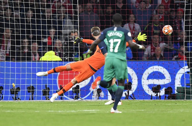 Tottenham goalkeeper Hugo Lloris failing to stop the goal scored by Ajax's Hakim Ziyech during the Champions League semifinal second leg soccer match between Ajax and Tottenham Hotspur at the Johan Cruyff ArenA in Amsterdam, Netherlands, Wednesday, May 8, 2019. (AP Photo/Martin Meissner)