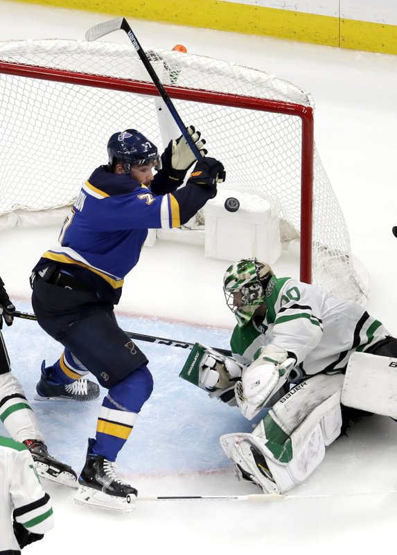 St. Louis Blues' Pat Maroon, left, celebrates after scoring against Dallas Stars goaltender Ben Bishop during the second overtime in Game 7 of an NHL second-round hockey playoff series Tuesday, May 7, 2019, in St. (AP Photo/Jeff Roberson)