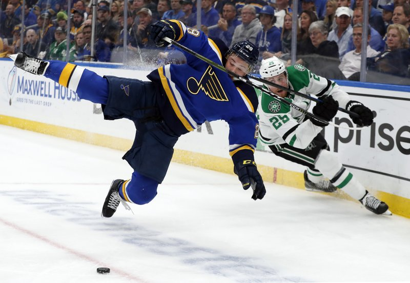 St. Louis Blues defenseman Vince Dunn (29) and Dallas Stars right wing Brett Ritchie (25) compete for control of a loose puck during the first period in Game 7 of an NHL second-round hockey playoff series, Tuesday, May 7, 2019, in St. (AP Photo/Jeff Roberson)