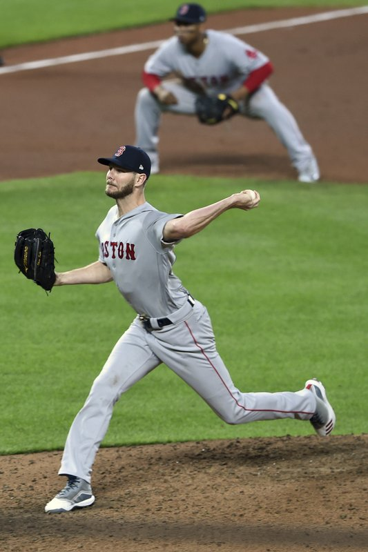Boston Red Sox pitcher Chris Sale throws to a Baltimore Orioles batter during the fifth inning of a baseball game Wednesday, May 8, 2019, in Baltimore. (AP Photo/Gail Burton)