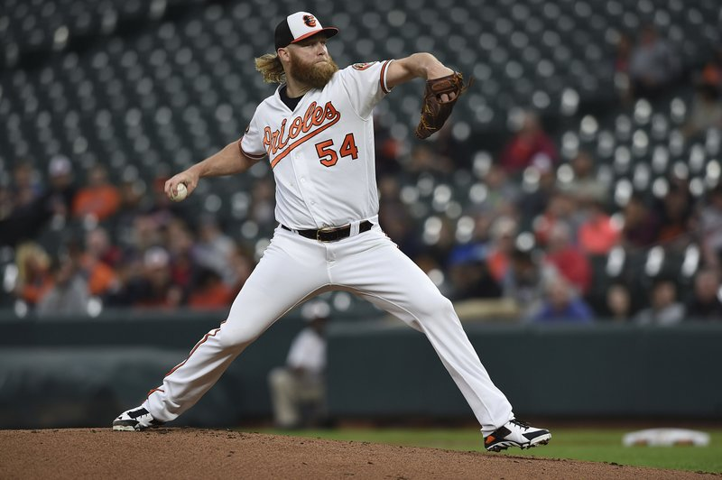 Baltimore Orioles pitcher Andrew Cashner throws to a Boston Red Sox batter during the first inning of a baseball game Wednesday, May 8, 2019, in Baltimore. (AP Photo/Gail Burton)
