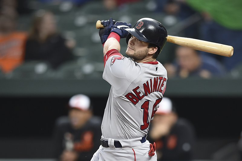 Boston Red Sox's Andrew Benintendi follows through on a double against the Baltimore Orioles during the first inning of a baseball game Wednesday, May 8, 2019, in Baltimore. (AP Photo/Gail Burton)
