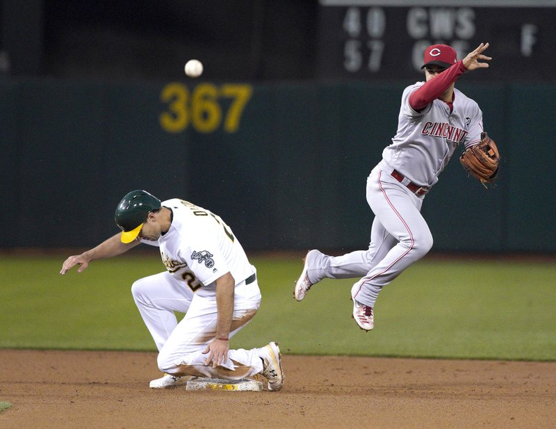 Cincinnati Reds shortstop Jose Iglesias (4) throws to first base for a double play after forcing Oakland Athletics' Matt Olson (28) out at second base during the fourth inning of a baseball game, Wednesday, May 8, 2019, in Oakland, Calif. (AP Photo/Tony Avelar)