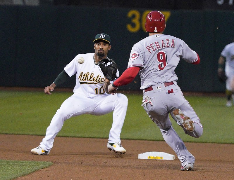 Oakland Athletics shortstop Marcus Semien (10) tags out Cincinnati Reds' Jose Peraza (9) on a stolen base in the fourth inning of a baseball game, Wednesday, May 8, 2019, in Oakland, Calif. (AP Photo/Tony Avelar)
