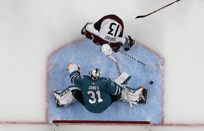 San Jose Sharks goaltender Martin Jones (31) defends a shot by Colorado Avalanche center Alexander Kerfoot (13) during the third period of Game 7 of an NHL hockey second-round playoff series in San Jose, Calif. (AP Photo/Jeff Chiu)